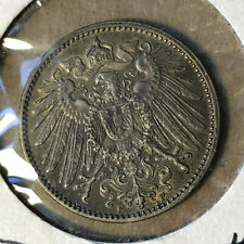 1914-F Germany 1 Mark Silver Coin BU+ Condition