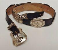 Justin Concho Belt Leather Stamped Buckle 1992 Black Size 28 Vintage