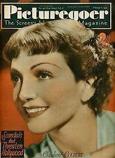 #PG298 PICTUREGOER 1937 Claudette Colbert Jean Harlow Bette Davis UK MAGAZINE