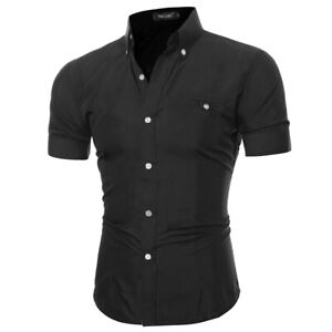 Mens Casual Short Sleeve Shirt Slim Fit Solid Buttons Pocket Cotton Shirts Tops