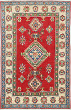 3x5 Hand-Knotted Kazak Carpet Tribal Red Fine Wool Area Rug D57176