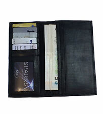 MENS LUXURY REAL LEATHER LONG WALLET BUSINESS CREDIT CARD HOLDER PHOTO ID BLACK