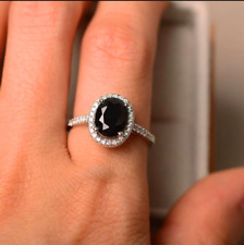 2Ct Oval-Cut Black Diamond Halo Solitaire Engagement Ring 14K White Gold Finish