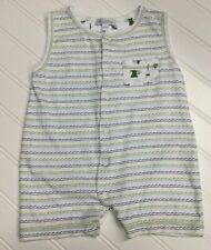 Kissy Kissy Boys Romper Shortall Sz 6 9 Months Stripes Safari Theme Pima Cotton