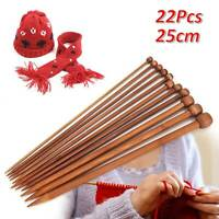 22pcs Bamboo Knitting Needles Set in Knitting Needle Case UK Size  3mm - 10mm