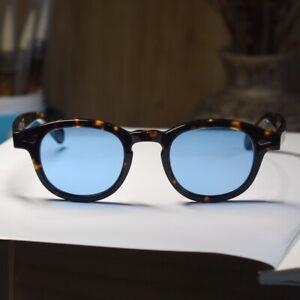 Vintage sunglasses johnny depp tortoise acetate glasses blue lens S gift unisex