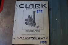 CLARK ECE D Forklift Parts Manual book catalog list spare lift truck index 1955
