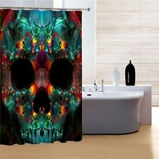 Multi Colored Skull with Black Background Shower Curtain Bathroom Decor