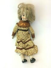 Vintage Used Porcelain Blonde French Doll with Cloth Body Decorative Old