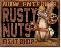 Rusty Nuts Fix It Shop Retro Muscle Car Hot Rod Rat Rods Wall Decor Metal Sign