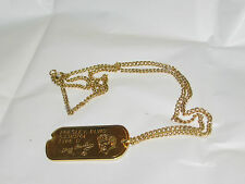 ELVIS PRESLEY ARMY DOG TAG WITH NUMBERS AND BLOOD TYPE WITH 24 INCHES CHAIN