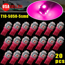 20x Purple Pink T10 5050 5SMD Led Interior Dome Map Light Bulbs 168 194 W5W 2825