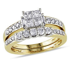 14k Yellow  Gold 1 Ct TDW Diamond Princess Solitaire W Accents Bridal Ring Set