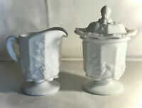 Westmoreland Milk Glass Paneled Grape Tall Creamer And Lace Edge Sugar With Lid
