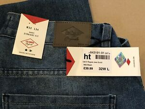 Mens W32 L34 New Genuine Lee Cooper Button Fly Classic 5 Pocket Reg Jean Pants