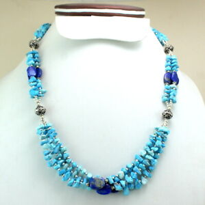 Necklace Natural Blue Turquoise Lapis Lazuli Gemstone Handmade Beaded Jewelry