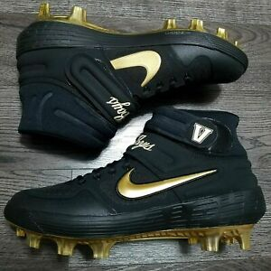 NIKE ALPHA HUARACHE ELITE 2 MID BASEBALL CLEATS SIZE 11 BLACK GOLD CU9557-005