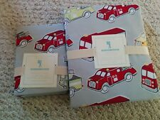 S2 Pottery Barn Kids Firetrucks Organic Twin Duvet & Standard Sham NWT Gray Red
