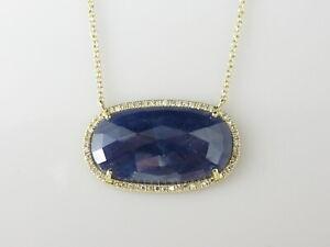 "Sliced Sapphire Diamond Necklace 14K Yellow Gold 18"" Adjustable Designer Blue"
