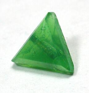 "Antique Leo Popper Glass Button Green Triangle Shape  3/8"""