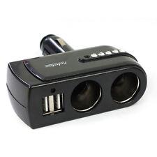 2 USB Charger Supply+2 Socket Car Cigarette Lighter Extender Splitter