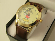 """DISNEY MICKEY MOUSE MEN""""S WATCH WITH MOLDED HANDS AND BROWN LEATHER BAND MK1448"""