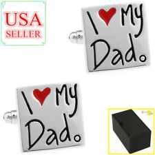 Fashion Men Cufflinks I Love My Dad Father Gifts Cuff Links With Gift Box