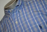 4465-a Mens Ralph Lauren Polo Dress Shirt Size Large Blue Plaids