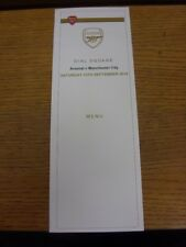 13/09/2014 Arsenal v Manchester City - Official Menu For Dail Square, Four Page.
