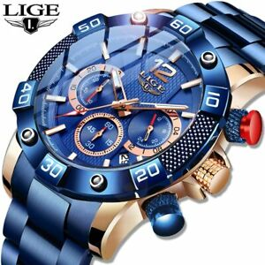 LIGE Men Watch, Luxury, Sports, Chronograph, Waterproof, Quartz.