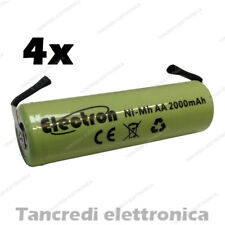4x BATTERIA RICARICABILE STILO NI-MH AA 1,2V 2000mAh LAMELLE A SALDARE 14x50 mm