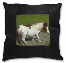 Shetland Pony Black Border Satin Feel Cushion Cover With Pillow Inser, AHC-3-CSB