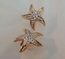 "14KT STAR FISH DESIGN EARRINGS W, DIAMOND CENTER SMALL 1/2"""
