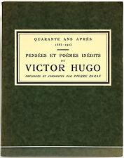 PARAF. Pensées et poèmes inédits de Victor Hugo 1925 / ENVOI de PARAF à G. SIMON