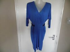 Ladies blue dress with black straps V neck  cutout back panel  Miss Selfridge 8