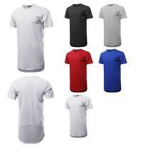 FashionOutfit Men's Top Solid Short Sleeves Basic Long-Line Side Slit T-Shirt