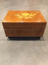 Vintage Wooden Reuge Italy Music Box Raindrops Keep Falling on My Head 18 Note