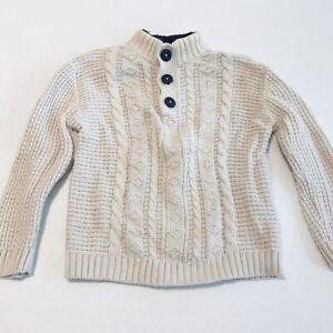 Little Boy's Sweater Cream Button Collar Cherokee Warm Winter Holiday Size 5T