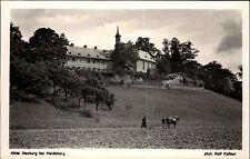 Abtei Neuburg bei Heidelberg s/w Postkarte ~1940 Mönch beim Pflügen ungelaufen