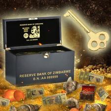 WR Zimbabwe Wooden Box & 1000 PCS Colored Gold Z$100 Trillion Dollars Banknotes