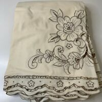 vintage linen tablecloth rectangle shaped floral embroidered off white beige