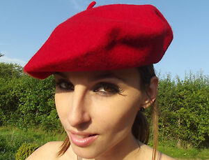 Beret Hat New Vintage Paris Retro Red French Genuine Wool One Size
