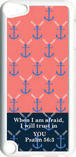 Pink and Blue Anchor with Psalm 56:3 on iPod Touch 5th Gen 5G White TPU Case
