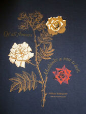 Vintage New SHAKESPEARE T-shirt.Rose.Roses.Theatre.Scoop Neck.Blue.S.L.XL