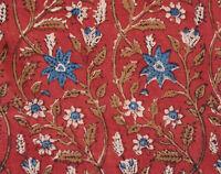 Hand Block Printed Cotton Artisan Fabric 2½ Yards. Red & Blue. Bagru India DIY