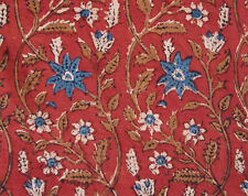 Hand Block Printed Cotton Artisan Fabric 2½ Yards. Red & Blue. Bagru India DIY