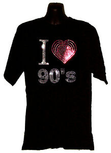 I LOVE NINETIES 90s night disco music T SHIRT WITH RHINESTUD DESIGN