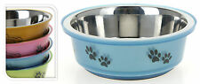 Small Stainless Steel Dog Pet Feeding Water Bowl Rubber Base - 4 Colours