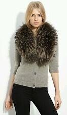 Alice + Olivia collar fur cardigan wool sweater knit top size S NWOT