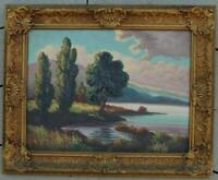 Vintage Oil on Board of a Lake Landscape With Mountains Signed McGrew